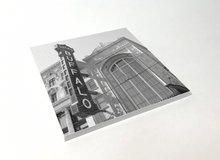 Load image into Gallery viewer, Buffalo Black and White Buffalo Shea's Performing Arts Center Square Coaster 4 Pack Designed and Handcrafted in Buffalo NY