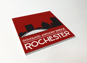 Rochester Skyline Silhouette ABS Plastic Coaster 4 Pack Designed and Handcrafted in Buffalo NY