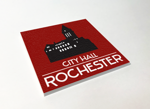 Rochester City Hall Silhouette ABS Plastic Coaster 4 Pack Designed and Handcrafted in Buffalo NY