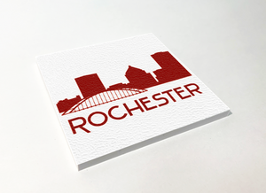 Rochester Skyline Red ABS Plastic Coaster 4 Pack Designed and Handcrafted in Buffalo NY