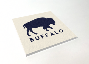 Buffalo Classic White Square Coaster 4 Pack Designed and Handcrafted in Buffalo NY