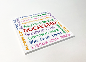 Rochester Things Word Cloud ABS Plastic Coaster 4 Pack Designed and Handcrafted in Buffalo NY