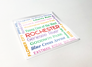 Rochester Things Word Cloud Acrylic Plastic Coaster 4 Pack Designed and Handcrafted in Buffalo NY