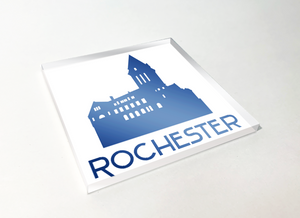 Rochester City Hall Blue Acrylic Plastic Coaster 4 Pack Designed and Handcrafted in Buffalo NY