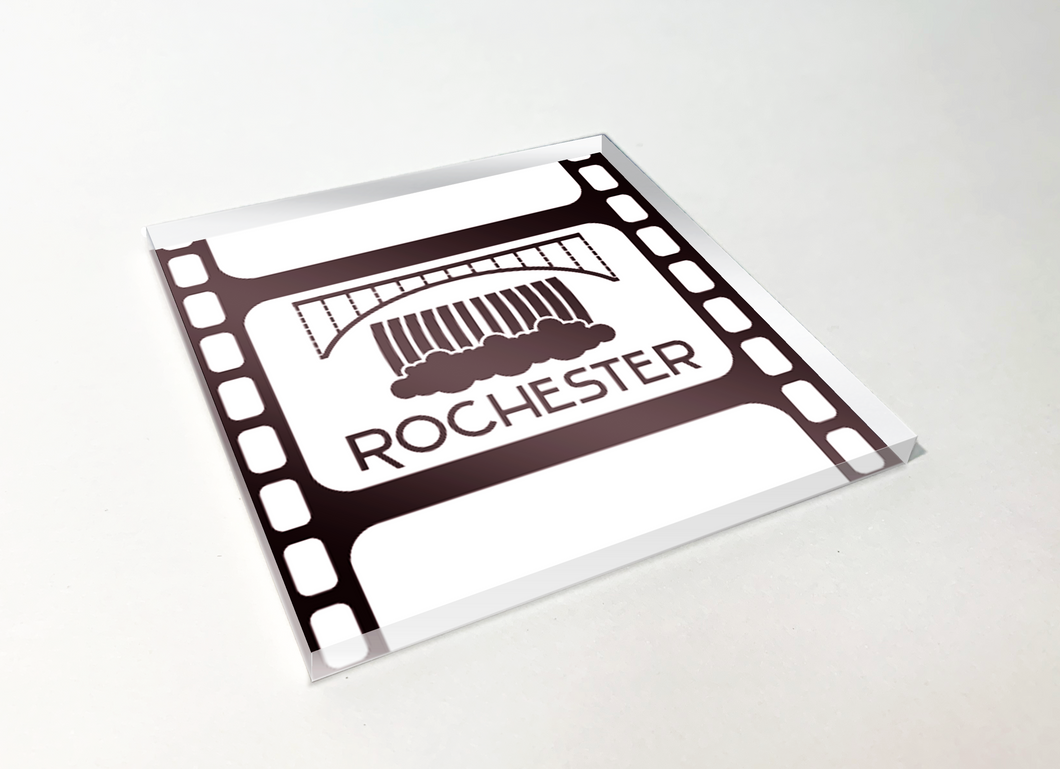 Rochester Lower Falls Filmstrip Acrylic Plastic Coaster 4 Pack Designed and Handcrafted in Buffalo NY