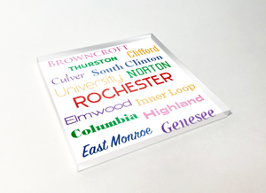 Rochester Streets Word Cloud Acrylic Plastic Coaster 4 Pack Designed and Handcrafted in Buffalo NY