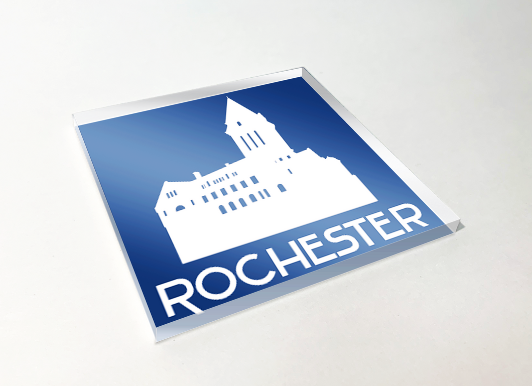 Rochester City Hall White Acrylic Plastic Coaster 4 Pack Designed and Handcrafted in Buffalo NY