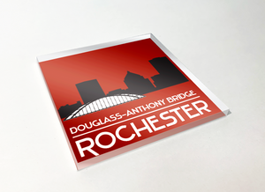 Rochester Skyline Silhouette Acrylic Plastic Coaster 4 Pack Designed and Handcrafted in Buffalo NY