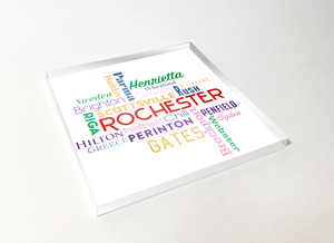 Rochester Townships Crossword Word Cloud Acrylic Plastic Coaster 4 Pack Designed and Handcrafted in Buffalo NY