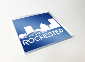 Rochester Skyline White Acrylic Plastic Coaster 4 Pack Designed and Handcrafted in Buffalo NY