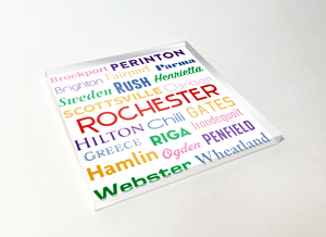 Rochester Townships Word Cloud Acrylic Plastic Coaster 4 Pack Designed and Handcrafted in Buffalo NY