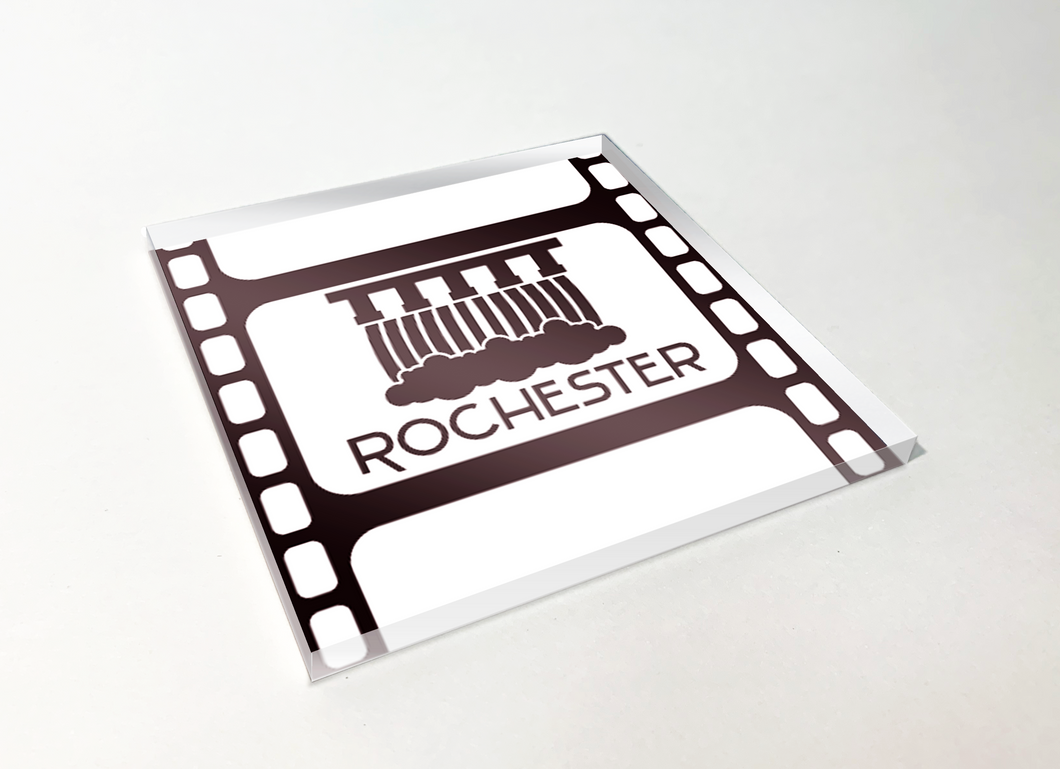 Rochester Upper Falls Filmstrip Acrylic Plastic Coaster 4 Pack Designed and Handcrafted in Buffalo NY