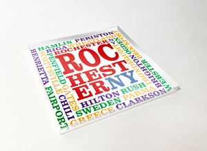 Rochester Townships Artistic Word Cloud Acrylic Plastic Coaster 4 Pack Designed and Handcrafted in Buffalo NY