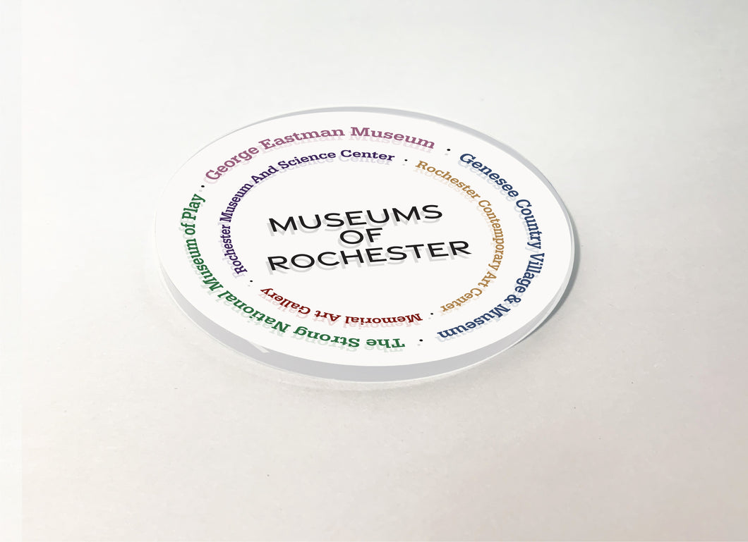 Rochester Museums Circular Acrylic Plastic Coaster 4 Pack Designed and Handcrafted in Buffalo NY