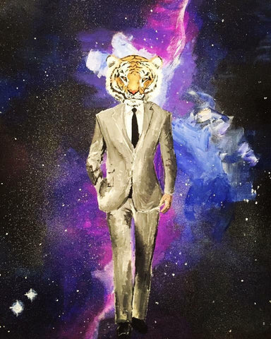 A vibrant art print of a man and a tiger