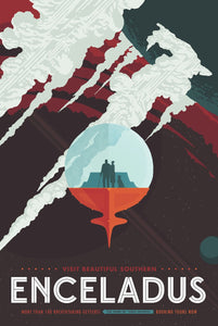 NASA Enceladus Retro Style Travel Poster Art on ABS