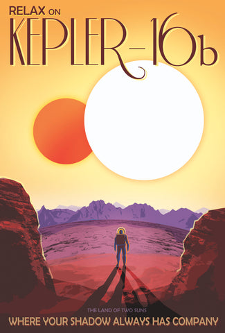 Kepler 16b Retro Style NASA Poster Art on ABS