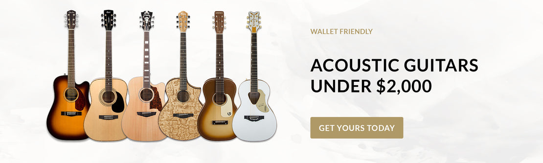 A range of acoustic guitars of various brands