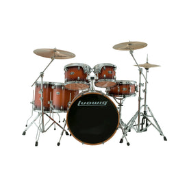 Ludwig Evolution Maple 7-Piece Drum Kit (22B+14FT+16FT+10T+12T+14S+Free 8inTom), Mahogany Burst