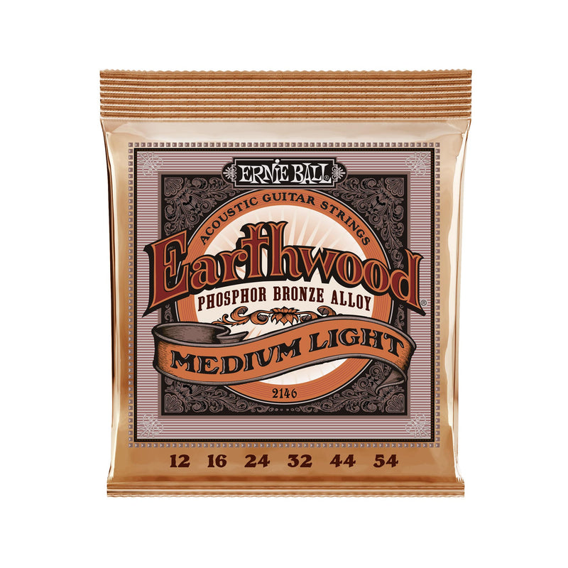 Ernie Ball Earthwood Medium Light Phosphor Bronze Acoustic Guitar Strings, 12-54