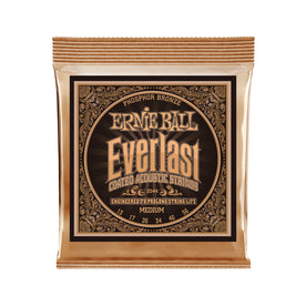 Ernie Ball Everlast Medium Coated Phosphor Bronze Acoustic Guitar Strings, 13-56