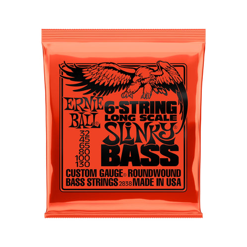 Ernie Ball Slinky Long Scale 6-String Nickel Wound Electric Bass Strings, 32-130