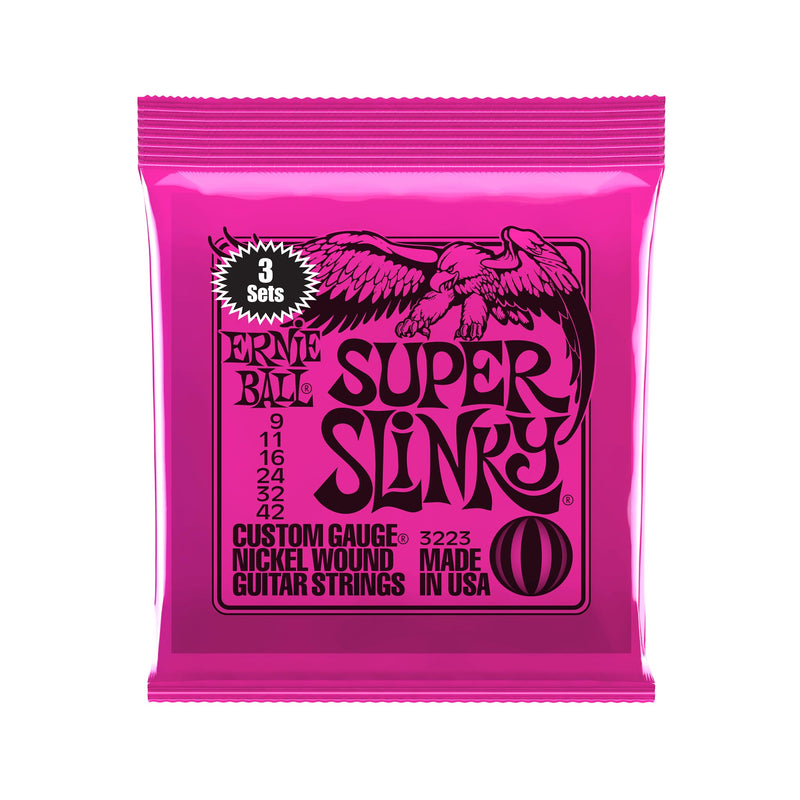 Ernie Ball Super Slinky Nickel Wound Electric Guitar Strings, 9-42, 3 Pack