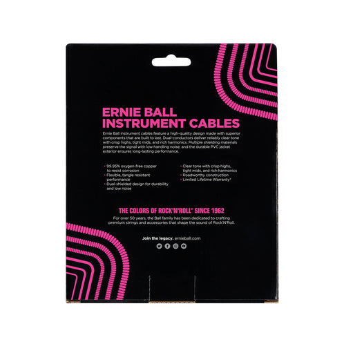 Ernie Ball 30' Coiled Straight to Straight Instrument Cable, Black