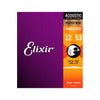 Elixir 16052 Nanoweb Phosphor Bronze Acoustic Guitar Strings 12-53