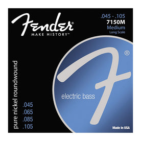 Fender 7150M Pure Nickel Roundwound Medium Long Scale Bass Guitar Strings, 45-105