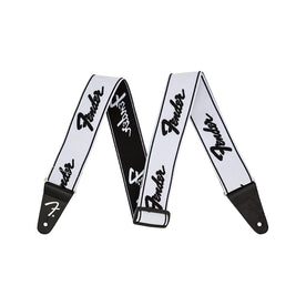Fender Weighless Running Logo Guitar Strap, White/Black, 2inch