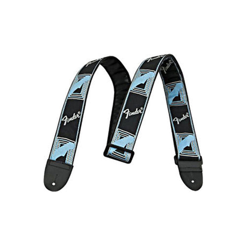 Fender 2 Inch Monogrammed Strap, Black/Light Grey/Blue