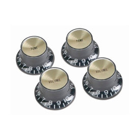 Gibson PRMK-020 Top Hat Style Knobs, Black w/Gold Metal Insert (4/pkg)