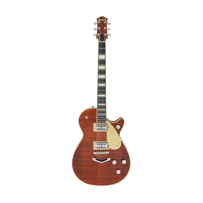 Gretsch G6228FM Players Edition Jet BT with w/V-Stoptail Flame Maple Guitar, Ebony FB, Bourbon Burst