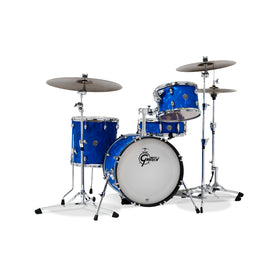 Gretsch CT1-J483-BSF Catalina Club 3-Piece Drum Shell Kit Set (18inch Bass), Blue Satin Flame