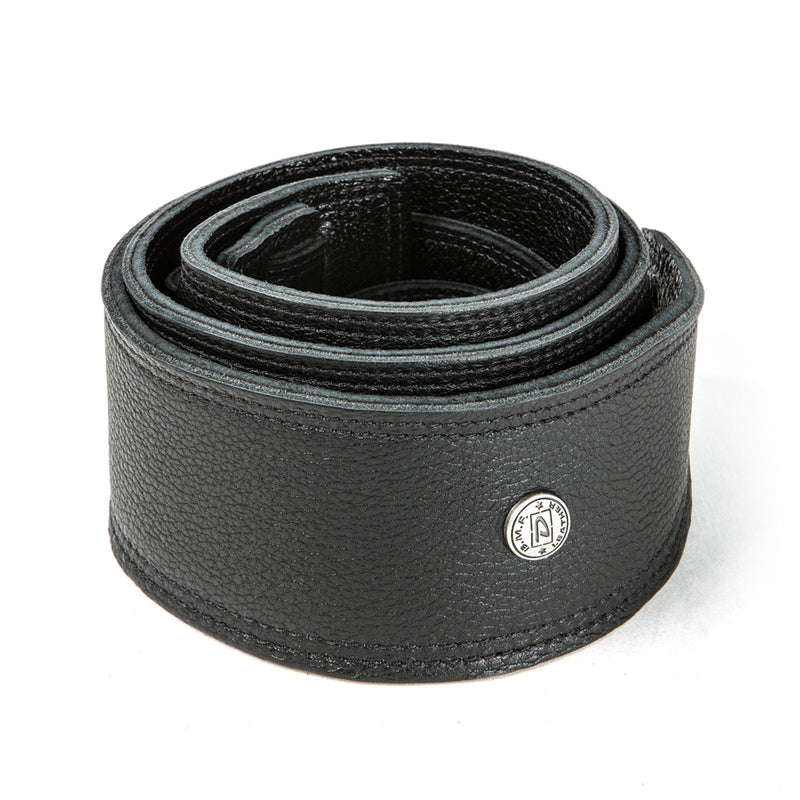 """Dunlop BMF 3-1//2/"""" Leather Strap For Guitar Or Bass Triple Black"""