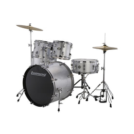 Ludwig LC17515DIR Accent Drive 5-Piece Drums Set w/Hardware+Throne+Cymbal, Silver Foil