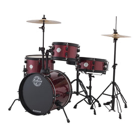 Ludwig LC178X025DIR Pocket Kit 4-Piece Drum Kit w/Hardware+Cymbals, Wine Red Sparkle