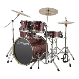 Ludwig LCEE22025DIR Element Evolution 5-Piece Drum Kit w/Hardware, Wine Red Sparkle