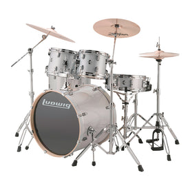 Ludwig LCEE22028DIR Element Evolution 5-Piece Drum Kit w/Hardware, White Sparkle