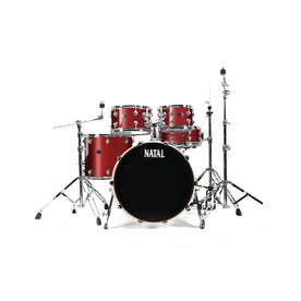 Natal Drums KARB-UF22-GST Arcadia Birch UF22 Drum Shell Kit, Red Sparkle w/o Hardware & Cymbals