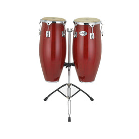 Natal NGU1011-RHC Natural Wood Congas 10inch and 11inch Chrome Hardware Stand, Red Gloss