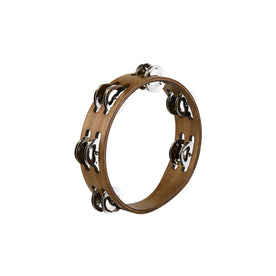 MEINL Percussion CTA2WB Compact Wood Stainless Steel Jingles Tambourine, Walnut Brown