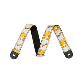 Fender Quickgrip Monogram Guitar Strap, White/Yellow/Brown