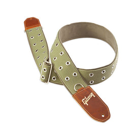Gibson ASRIV-GRN The Rivet 2inch Guitar Strap, Green Canvas with Poly Back