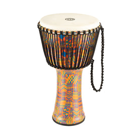 MEINL Percussion PADJ2-XL-G 14inch Rope Tuned Travel Series Djembe, Goat Head, Kenyan Quilt