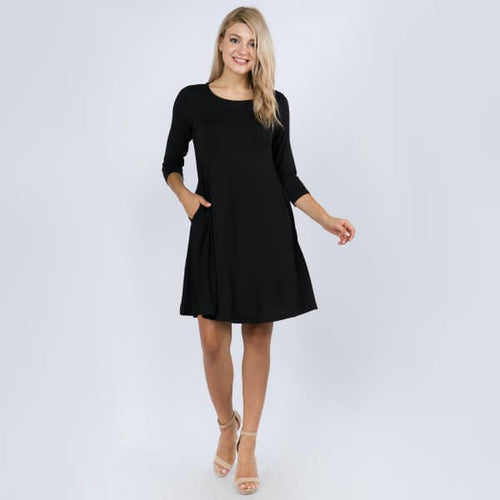 Black 3/4 Sleeve Swing Dress Featuring Side Pockets.