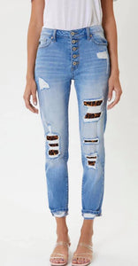 KanCan High Rise Leopard Patch Classic Skinny