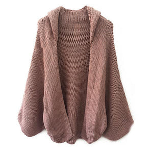 Open Knit Hooded Cardigan Featuring Dolman Sleeve