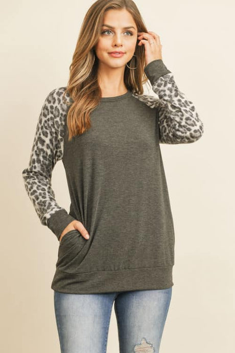 Leopard Top with Contrast Sleeves